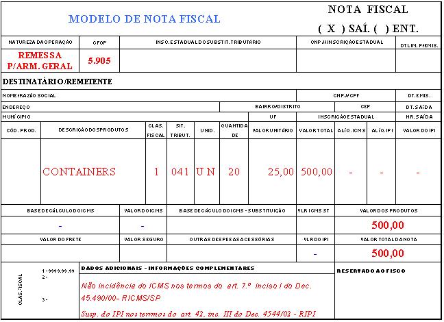 Modelo De Emissão De Nota Fiscal Armazém Geral
